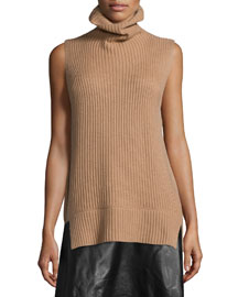 Ribbed Sleeveless Turtleneck Sweater
