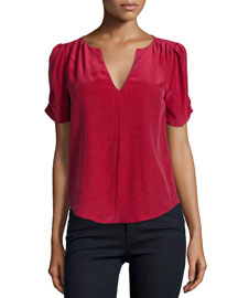 Amone Pleated Silk Blouse