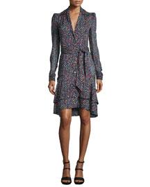 Tweed-Print Tie-Waist Long-Sleeve Dress