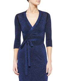 Metallic Knit Tie-Waist Cardigan, Royal