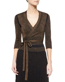 Metallic Knit Tie-Waist Cardigan, Copper