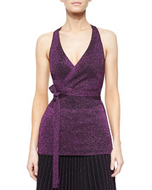 Metallic Knit Tie-Waist Top, Magenta