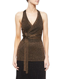 Metallic Knit Tie-Waist Top, Copper