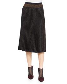 Long Pleated Metallic Knit Skirt