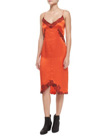 Izabella Silk Lace Slip Dress, Spicy Orange