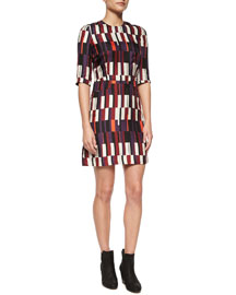 Anne Printed Silk A-Line Dress