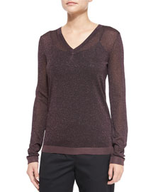 Marie Metallic Knit V-Neck Top, Nightshade