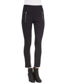 Dino Zip Stretch Ankle Pants, Black