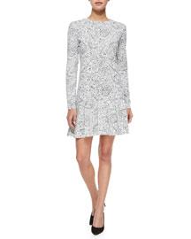 Long-Sleeve Doodle-Print Dress