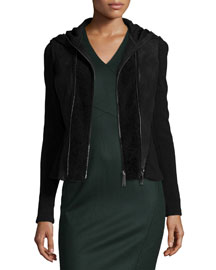 Yasmine Fur-Trim Hooded Combo Jacket