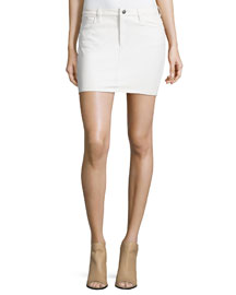 Wirt Five-Pocket Leather Skirt, Ecru