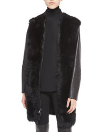Leather-Sleeve Shearling Fur Coat, Black