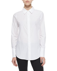 Long-Sleeve Stretch-Cotton Blouse