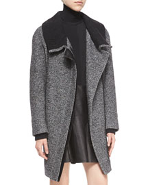 Shawl Collar Asymmetric-Zip Coat