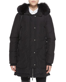 Fox Fur-Trimmed Hooded Parka Jacket, Black