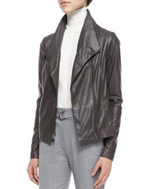 Mock-Neck Leather Jacket