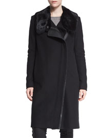 Asymmetric Fur-Collar Coat