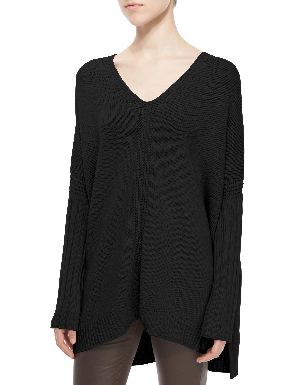Vince Mixed-Rib Knit Poncho Sweater, Size: MEDIUM, Black