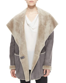 Hooded Drape-Collar Shearling Fur Jacket