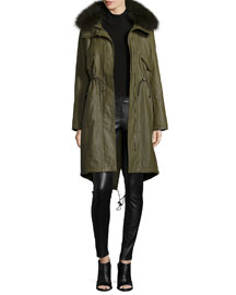 Quinton Long-Sleeve Hooded Fur-Trim Coat, Olive