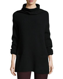 Oversize Ribbed Knit Turtleneck Dress