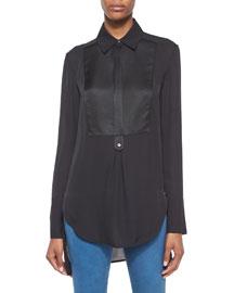 Tuxedo-Inset Silk Blouse