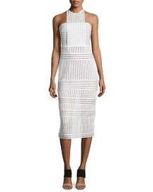 Striped Mesh-Knit Midi Sheath Dress, White