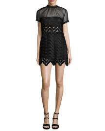 Evie Short-Sleeve Scalloped-Chevron Mini Dress, Black