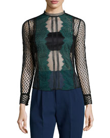 Long-Sleeve Sheer Lace-Trim Top, Black/Green