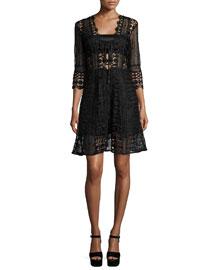 3/4-Sleeve Guipure-Lace A-Line Dress, Black