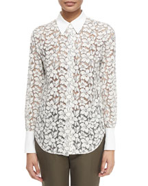 Classic Lace Button-Down Blouse, Ivory