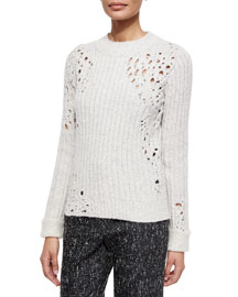 Open-Knit Detail Sweater, Sand