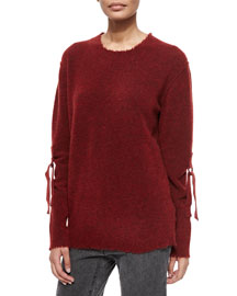 Belted-Sleeve Pullover Sweater, Deep Red