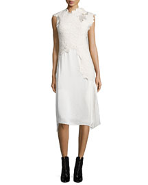 Destroyed Lace Satin Dress, Cream