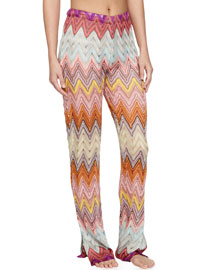 Zigzag Knit Pull-On Coverup Pants, Multi