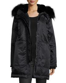 Fabunni Bomber Tech Coat W/Fur Trim