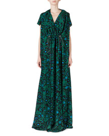 Shadow Flower Silk Gown, Bottle Green