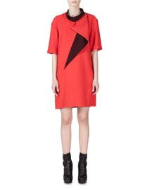 Draped-Neck Two-Tone Shift Dress, Scarlet