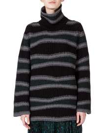 Abstract-Stripe Oversize Wool Sweater, Pine