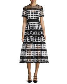 Bernice Mesh-Knit A-Line Midi Dress, Black/White