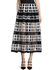 Albina Mesh-Knit Midi Skirt, Black/White
