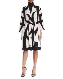 Two-Tone 3/4-Sleeve Belted Topper Coat, Black/White