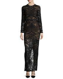 Kassidy Long-Sleeve Lace Maxi Dress, Black