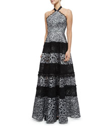 Imelda Floral Lace Maxi Halter Dress, Silver