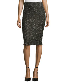 Ramos Shimmery Beaded Pencil Skirt