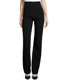 Seamed High-Waist Pants, Black