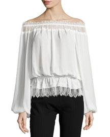 Off-Shoulder Lace Blouson Top, Cream