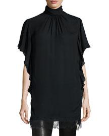 Lace-Trim Turtleneck Tunic, Black