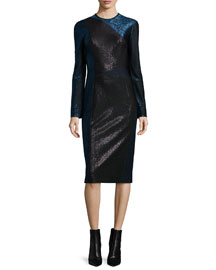 Long-Sleeve Metallic Colorblock Dress, Black/Dusk Blue
