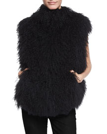 Shearling Harness-Back Vest, Black